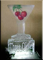 Martini Glass with Cherries Luge