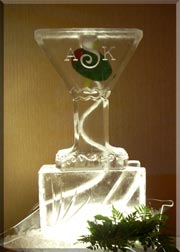 Martini Glass with Olive Luge